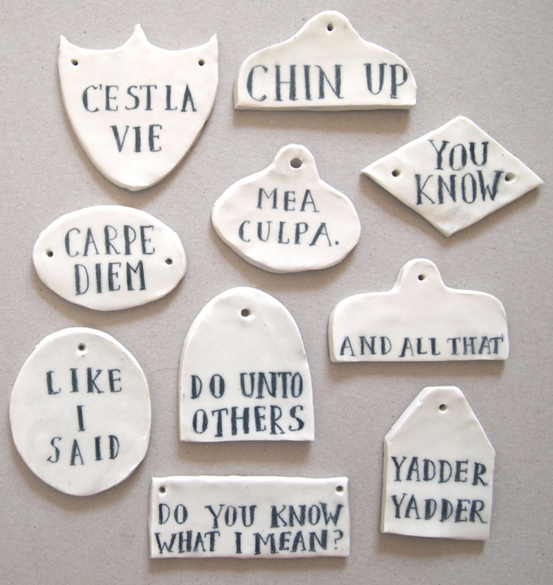 Ceramic signs by Jo Waterhouse