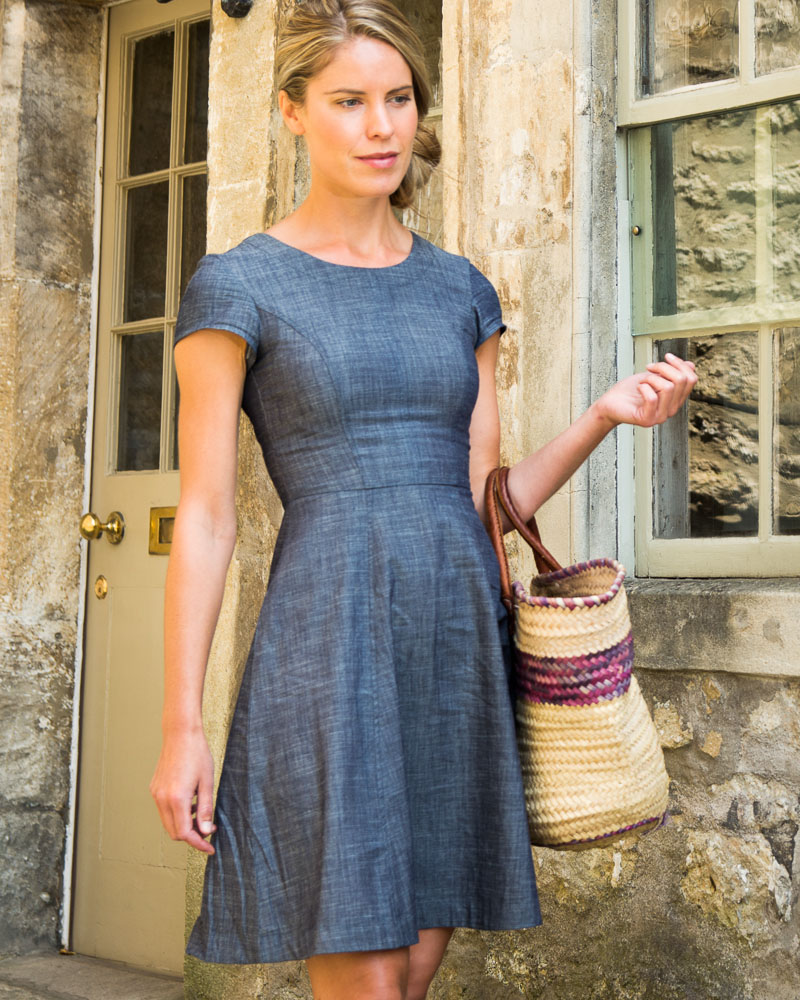dalia denim tea dress