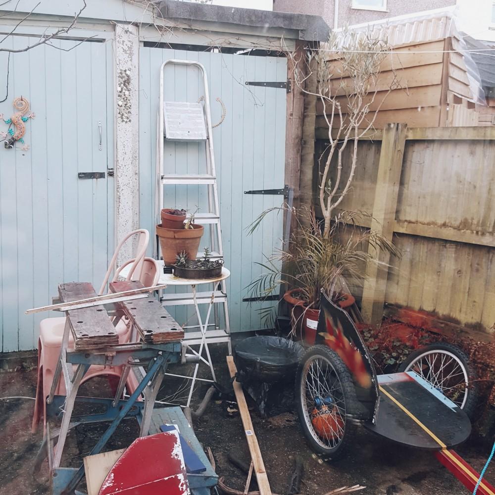 messy urban garden