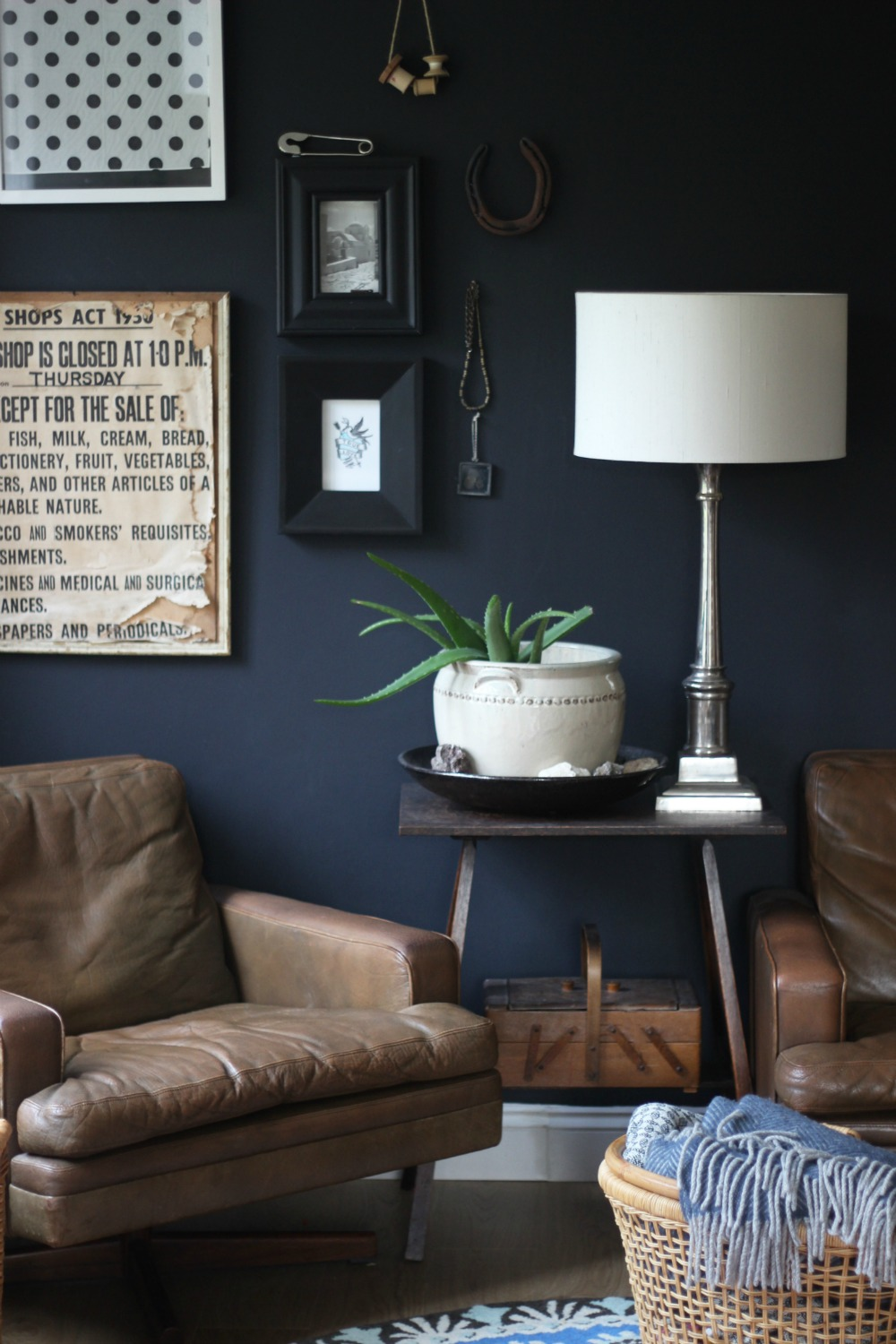 black wall interior decor vintage