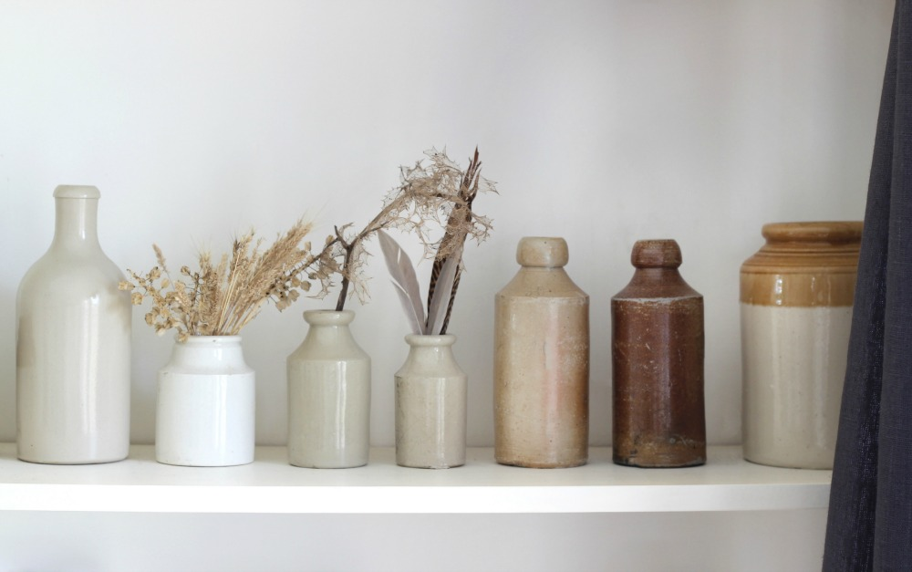 shelf, feathers ceramic bottles