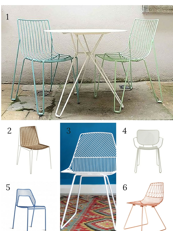 six garden mesh chairs