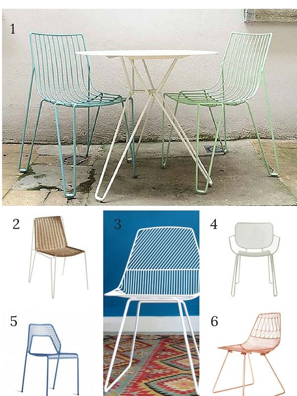 six garden mesh chairs