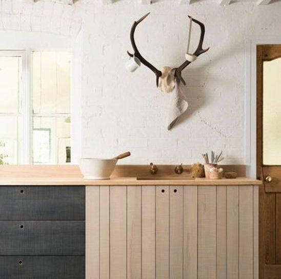 devol kitchens rustic wood antlers