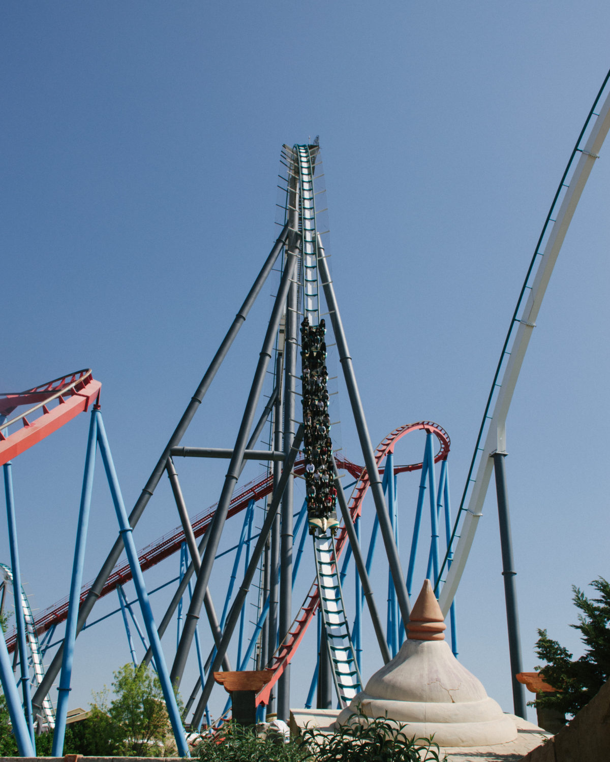 The water plunge on Shambala, Europe's tallest roller coaster.