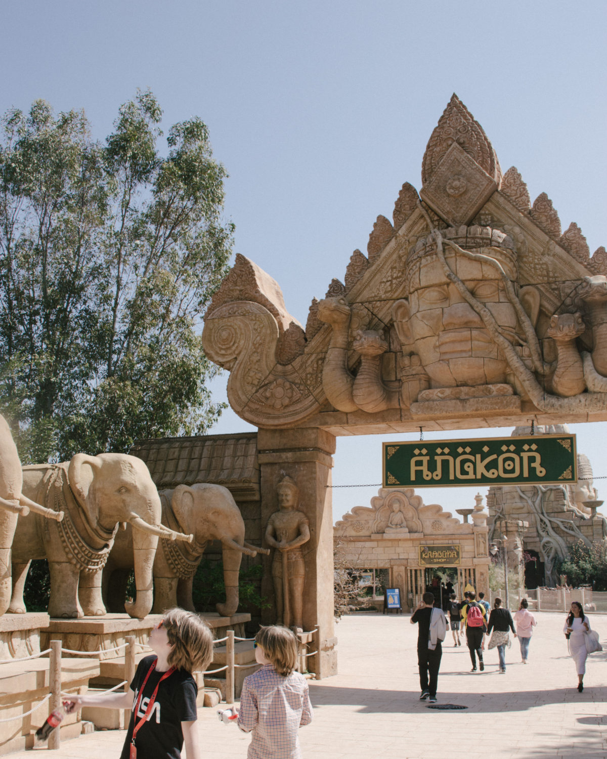 Angkor theme setting at Port Aventura World, Spain.