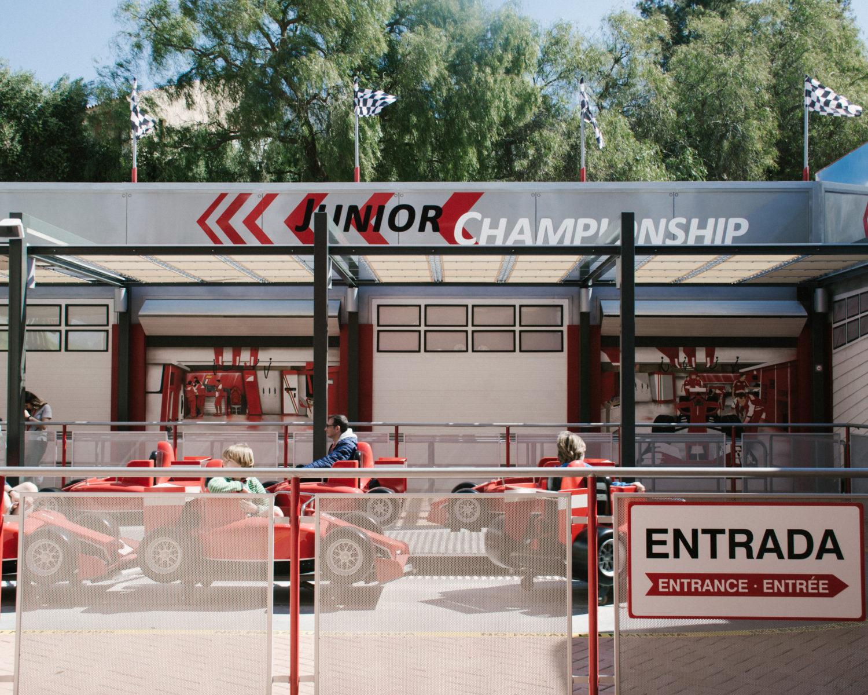 Ferrari Land's junior race simulator.