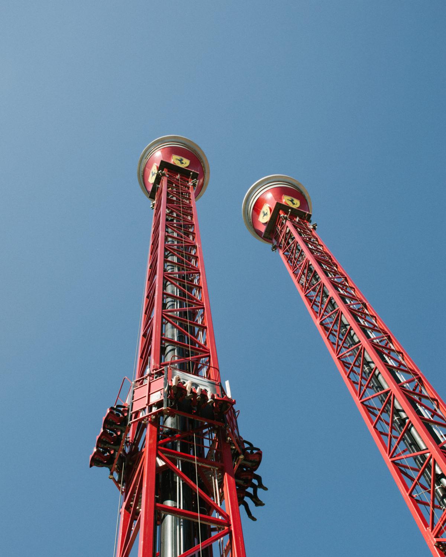 Free Fall and Bounce Back towers at Ferrari Land. Bonkers fun.