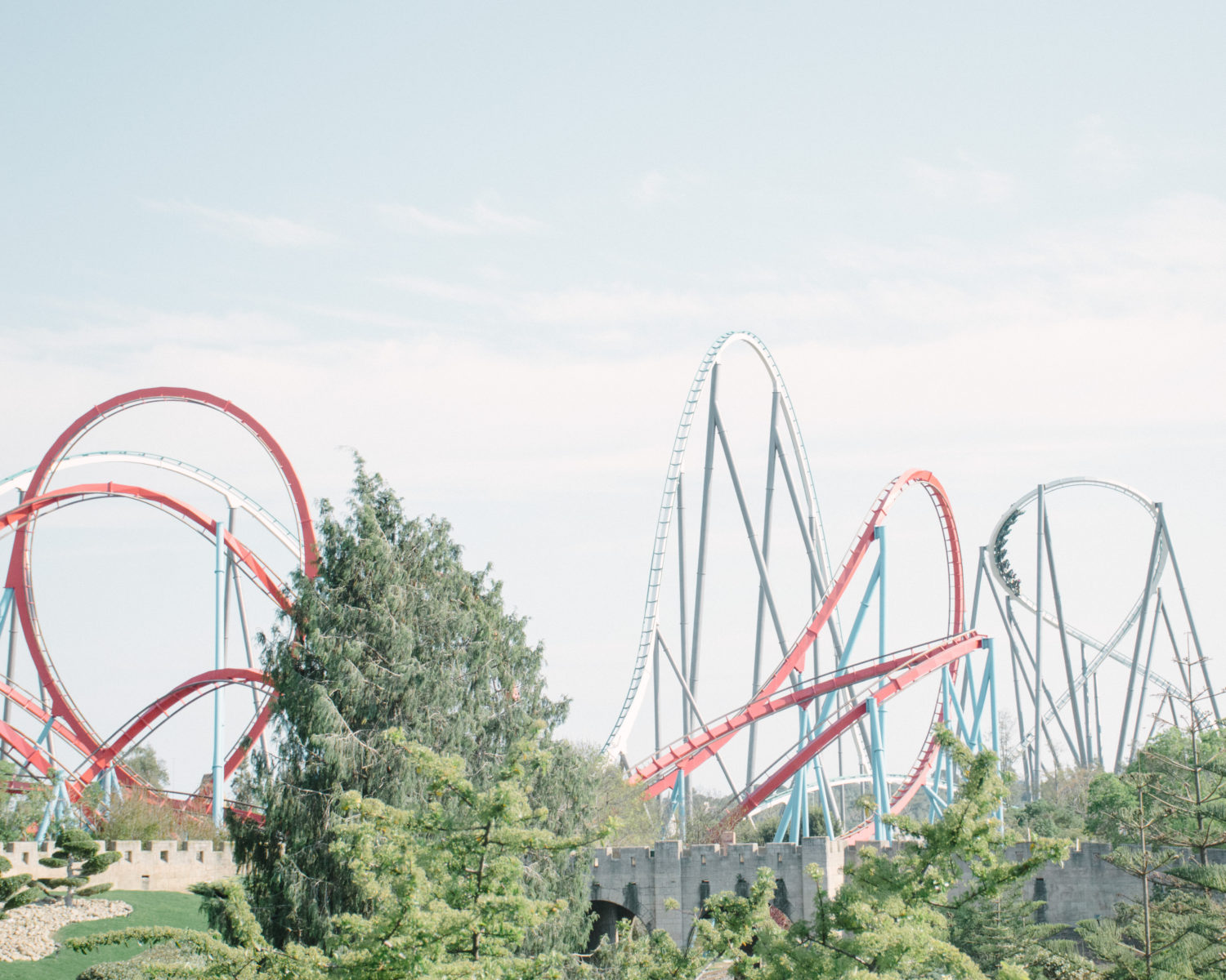 Europe's tallest roller coaster, Shambala, and Dragon Khan, at Port Aventura World, Spain.