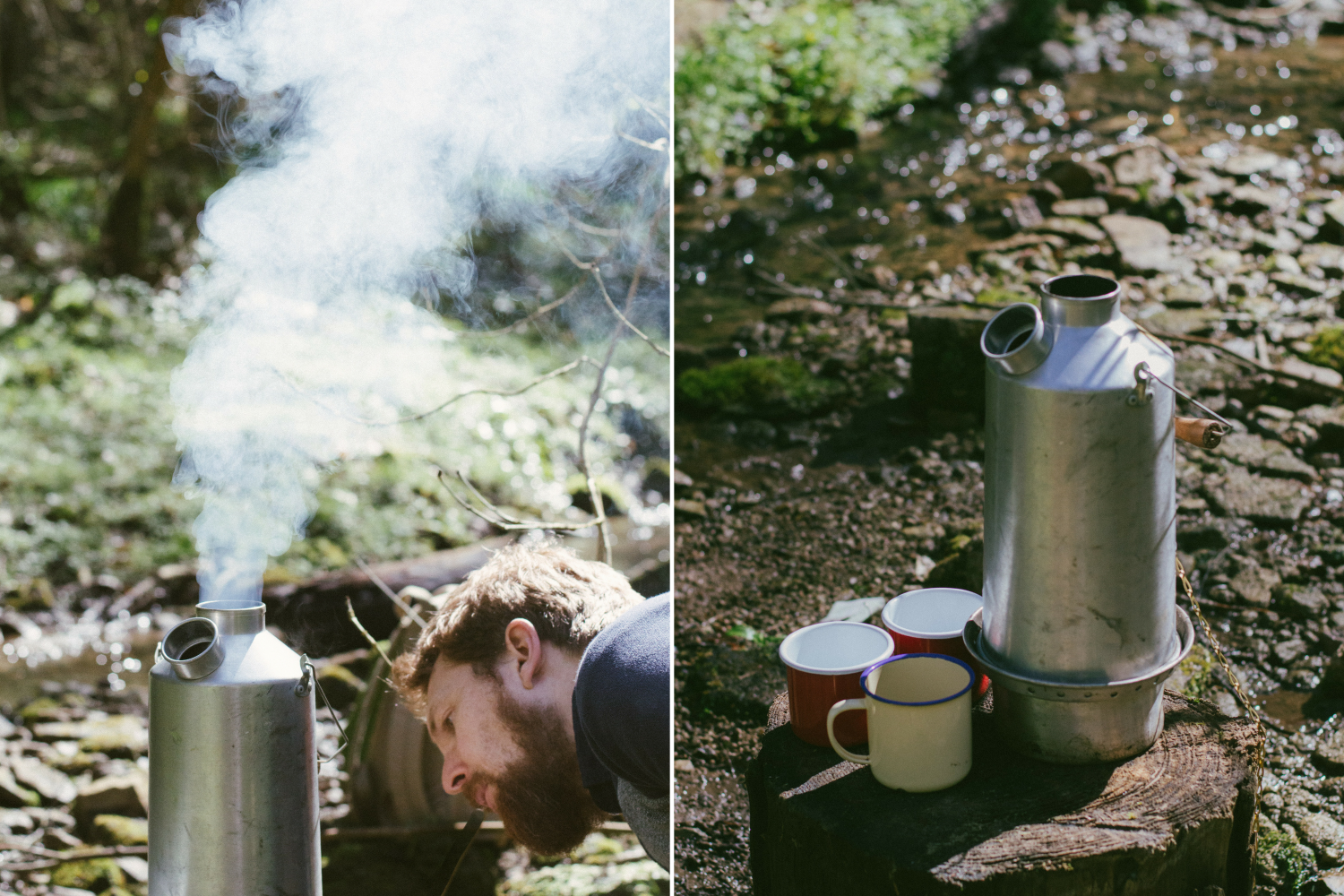Making tea on the river bank with the Kelly Kettle